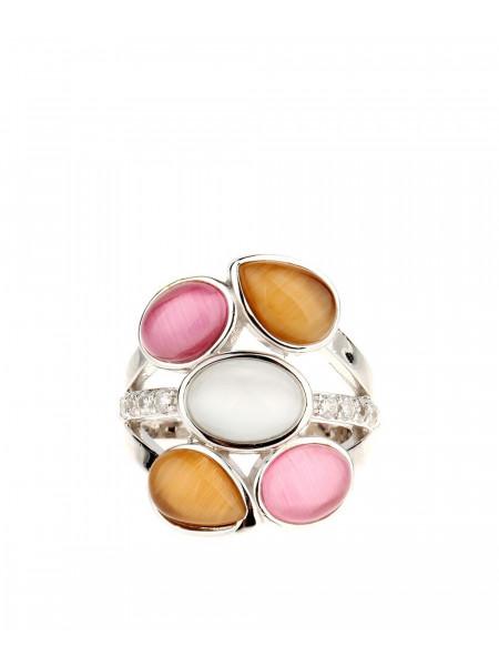 Кольцо серебряное с разноцветными камнями