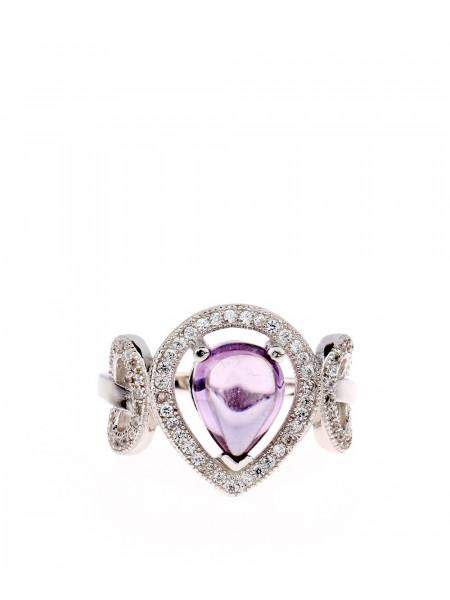 Кольцо серебряное с фиолетовым камнем