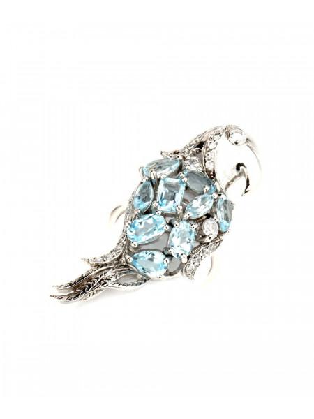 Кольцо серебряное с голубыми камнями