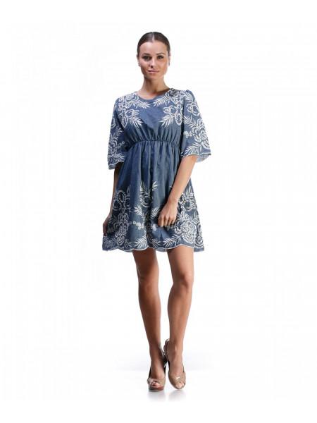 Платье женское синее с узором