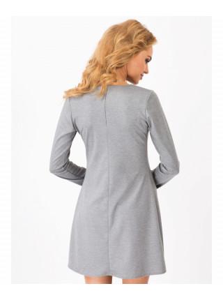 Платье женское серого цвета с длинным рукавом