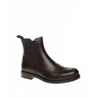 Ботинки кожаные темно-коричневого цвета