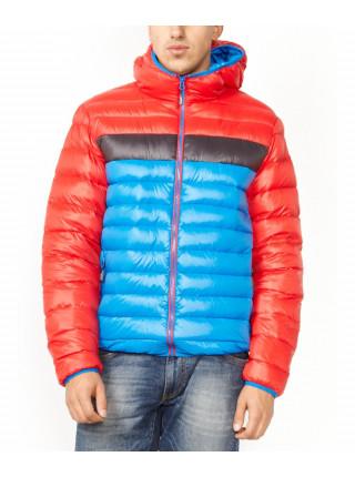 Пуховик зимний красный с синим