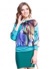 Блуза женская Lanvin бирюзовая в принт