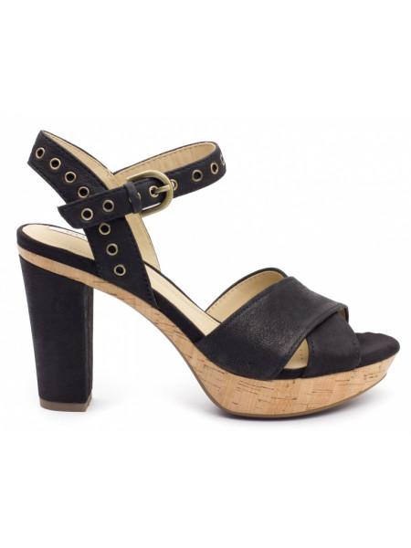 Босоножки женские Geox черные на каблуке