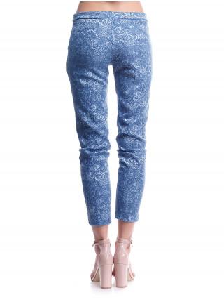 Брюки женские Lanvin синие с вышивкой